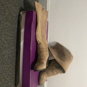 FERGIE Taupe knee high boot with zipper